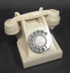 Indian Cream Bakelite Telephone With Chrome Dial,