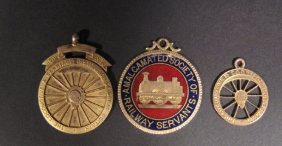 Three Gold Railway Medals, One With Enamel Decorat