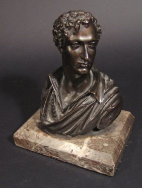 Bronze Bust Of A Young Gentleman On A Marble Base,