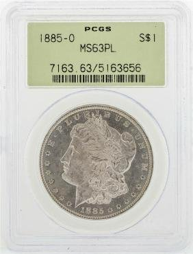 1885-O $1 Morgan Silver Dollar Coin PCGS MS63PL