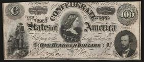 1864 $100 The Confederate States Of America Note