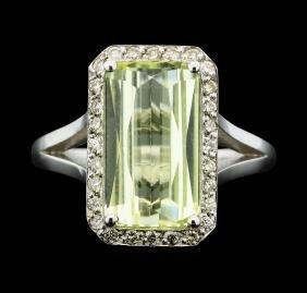 14KT White Gold 3.90ct Lemon Quartz And Diamond Ring