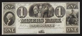 1841 $1 The Miners Bank Pottsville Obsolete Bank Note