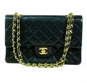 Authentic Chanel Double Flap Black Lambskin Gold
