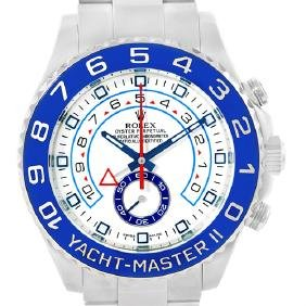 Rolex Yachtmaster Ii Stainless Steel Blue Bezel Mens