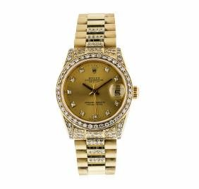18k Yellow Gold Mid-size Rolex Datejust Wristwatch With