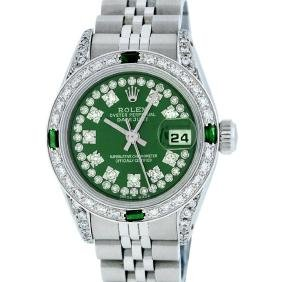 Rolex Ladies Stainless Steel Emerald And Diamond