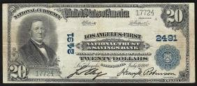 1902 $20 Los Angeles California National Currency Note