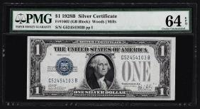 1928B $1 Silver Certificate Note PMG Choice