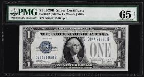 1928B $1 Silver Certificate Note PMG Gem Uncirculated