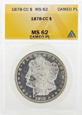 1878-CC $1Morgan Silver Dollar Coin ANACS MS62 Cameo PL