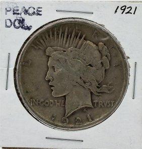 1921 Peace Silver Dollar Coin