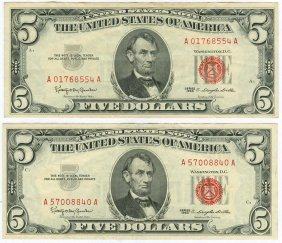 1963 $5 Red Seal Note Lot Of 2