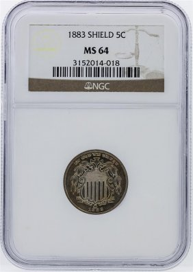 1883 5c Shield Nickel Coin Ngc Graded Ms64