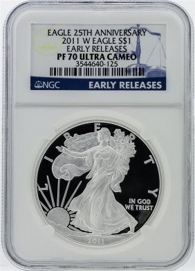 2011-w Silver Eagle 25th Anniversary Early Release Ngc