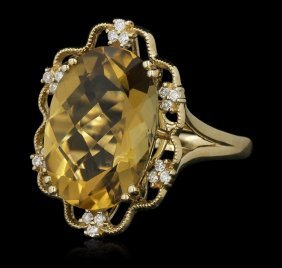 14kt Yellow Gold 8.44ct Citrine And Diamond Ring