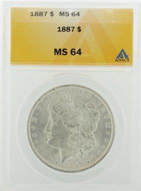 1887 $1 Morgan Silver Dollar Anacs Graded Ms64
