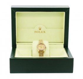 Ladies 18kt Gold Rolex Super President Style Diamond