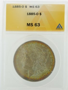 1885-o $1 Morgan Silver Dollar Anacs Graded Ms63