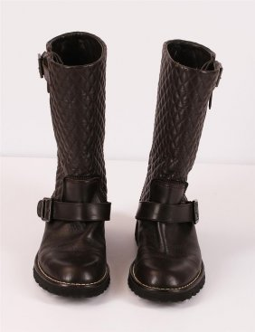 Authentic Chanel Quilted Brown Leather Motorcycle Boots