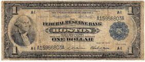 1918 $1 Federal Reserve Bank Note Boston Massachusetts
