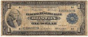 1918 $1 Federal Reserve Bank Note Boston Massachusetts