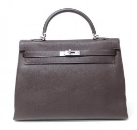 Authentic Hermes Kelly Bag 35cm Chocolate Phw