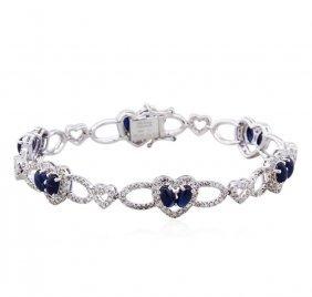 18kt White Gold 4.53ctw Sapphire And Diamond Bracelet