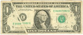 1981a $1 Federal Reserve Note Error White Gutter Fold