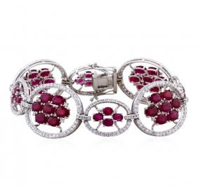 14kt White Gold 19.66ctw Ruby And Diamond Bracelet