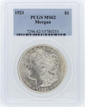 1921 Pcgs Ms62 Morgan Silver Dollar
