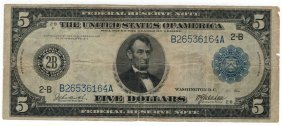 1914 $5 Blue Seal Federal Reserve Bank Note