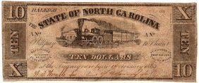 1865 $10 State Of North Carolina Note