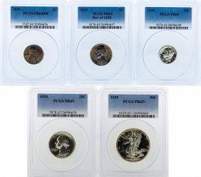 Rare 1939 Pcgs Graded (5) Coin Proof Set