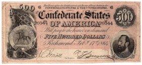 $500 1864 Richmond Virginia Confederate States Of