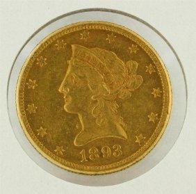 1893 $10 Liberty Head Gold Eagle Coin