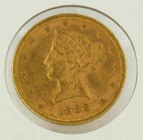 1892 $10 Liberty Head Gold Eagle Coin