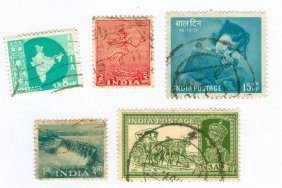 India Postage Stamps Lot Of 5