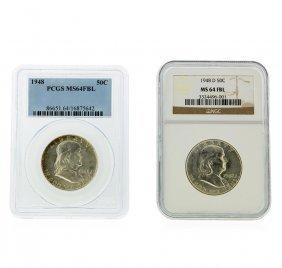 1948 & 1948-d Franklin Half Dollar Ngc/pcgs Graded