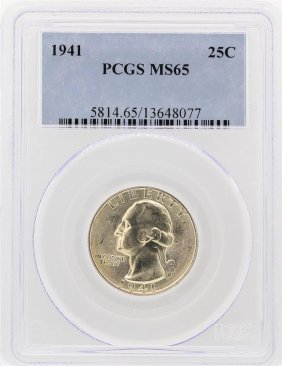 1941 Washington Quarter Pcgs Graded Ms65
