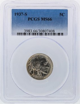 1937-s Buffalo Nickel Pcgs Coin Graded Ms66