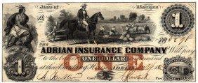 1800's $1 Adrian Insurance Company Michigan Obsolete