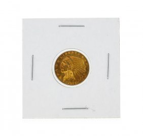 1913 $2 1/2 Indian Head Quarter Eagle Gold Coin Au