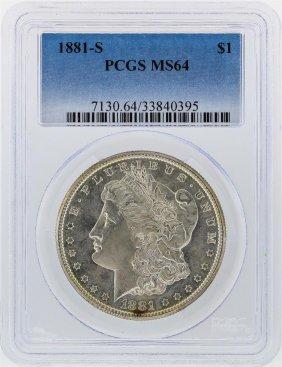 1881-s $1 Morgan Silver Dollar Pcgs Graded Ms64