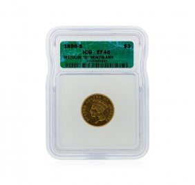 1856-s $3 Indian Head Princess Gold Coin Icg Graded