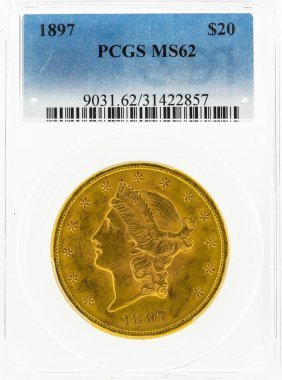 1897 $20 Liberty Head Double Eagle Gold Coin Pcgs Ms62