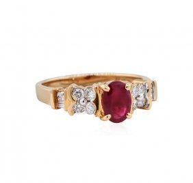 14kt Rose Gold 0.95ct Ruby And Diamond Ring