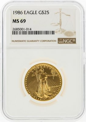 1987 $25 American Gold Eagle Coin Ngc Graded Ms69