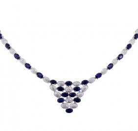 14kt White Gold 22.73ct Sapphire And Diamond Necklace
