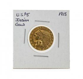 1915 $5 Indian Head Half Eagle Gold Coin